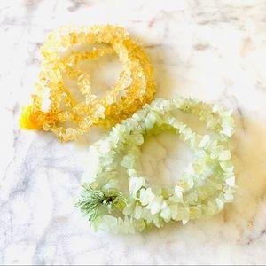 Jewelry - SET OF 2 STONE Necklaces / Bracelets Green Yellow